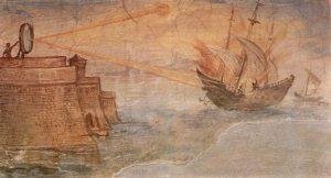 Segundo narrativa do século II, Arquimedes teria usado espelhos para incendiar as velas de navios inimigos que se aproximavam de Siracusa.