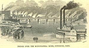 Pittsburgh, USA, século XIX. A ilustração retrata a grande poluição causada pelo uso do carvão nas indústrias que se multiplicavam.